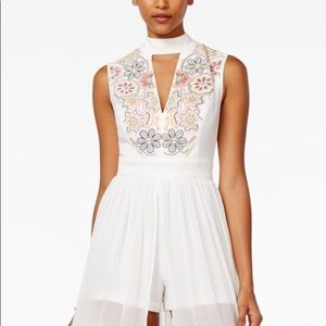 XOXO Juniors' Embroidered Maxi-Overlay Romper XS